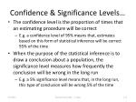 confidence significance levels