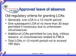 approved leave of absence
