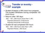 transfer or re entry example
