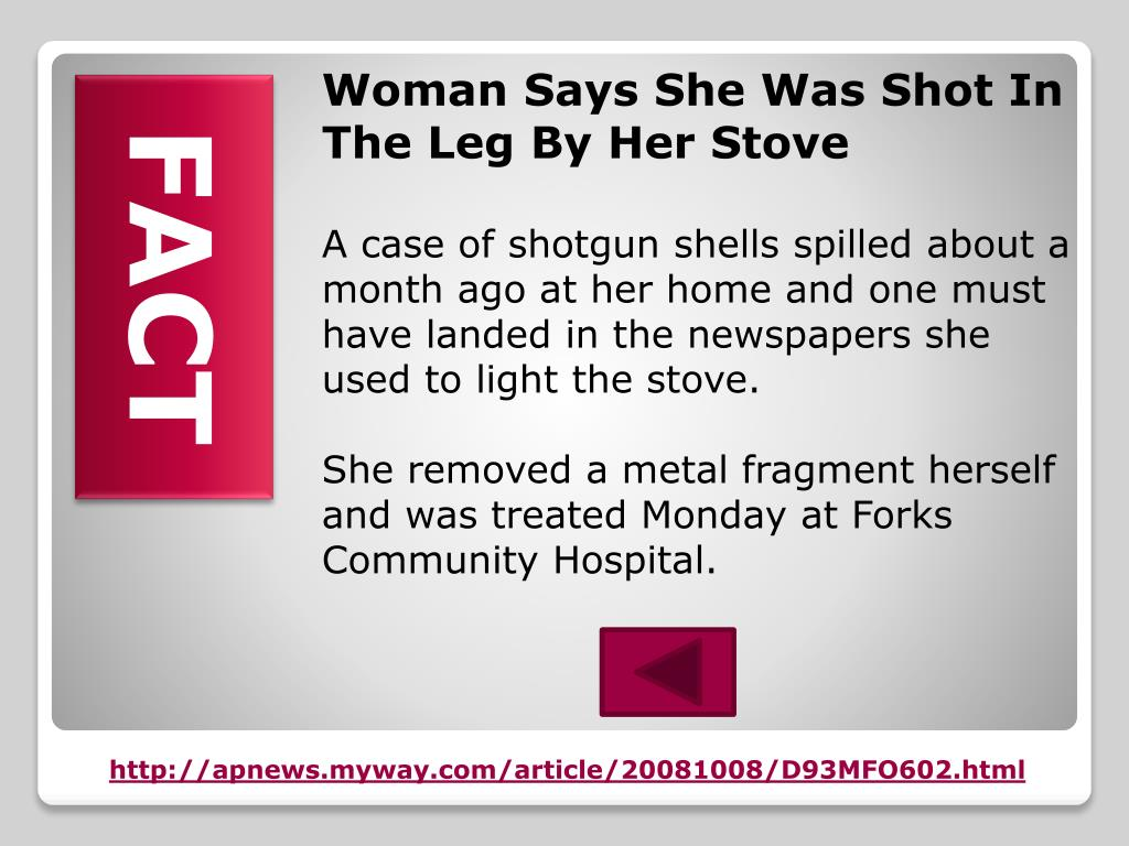 Woman Says She Was Shot In The Leg By Her Stove