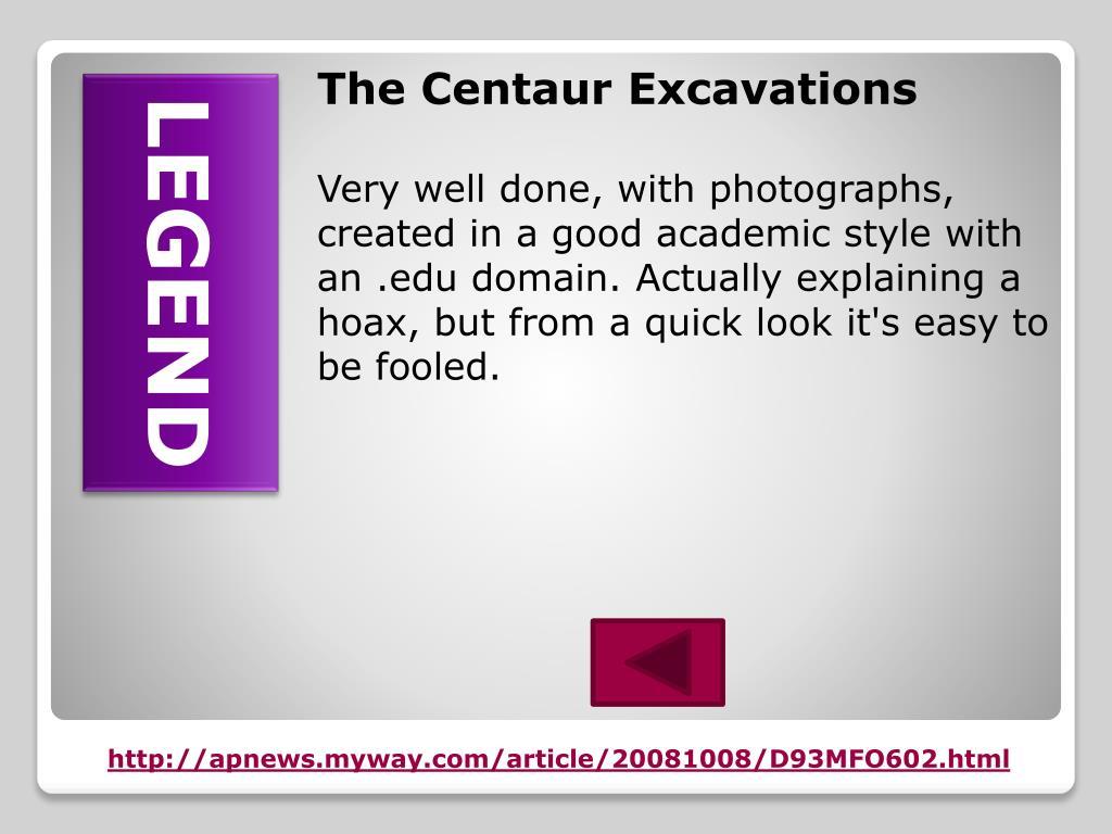 The Centaur Excavations