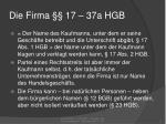 die firma 17 37a hgb