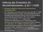 haftung des erwerbers f r altverbindlichkeiten 25 i 1 hgb
