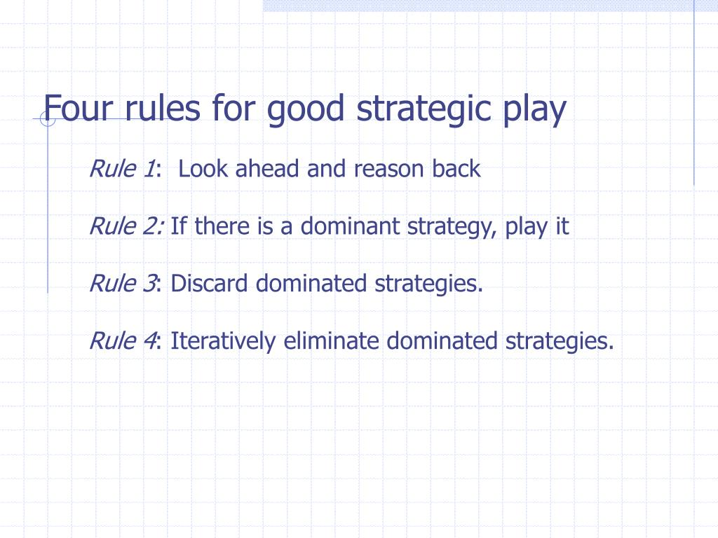 Four rules for good strategic play