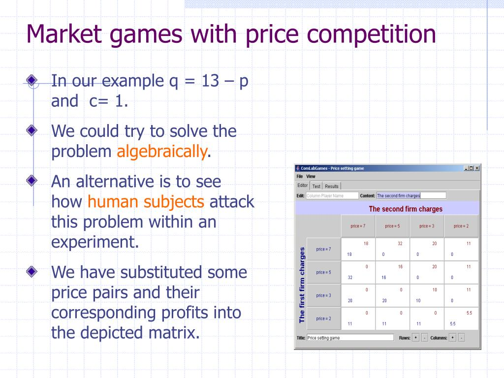 Market games with price competition