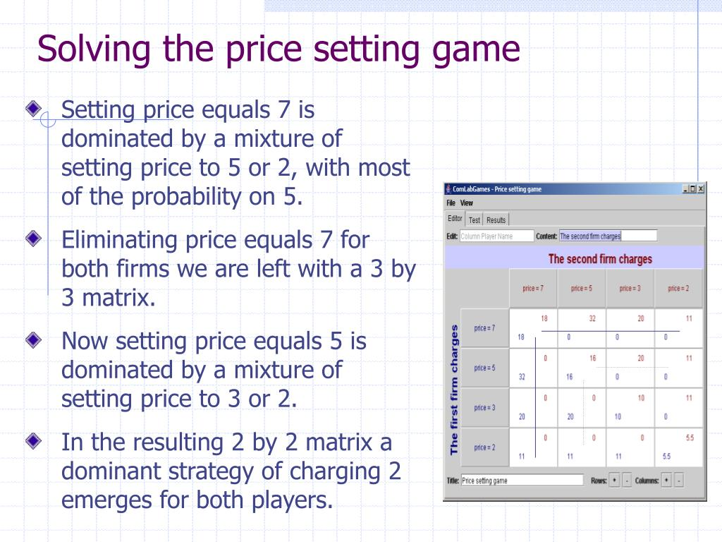 Solving the price setting game