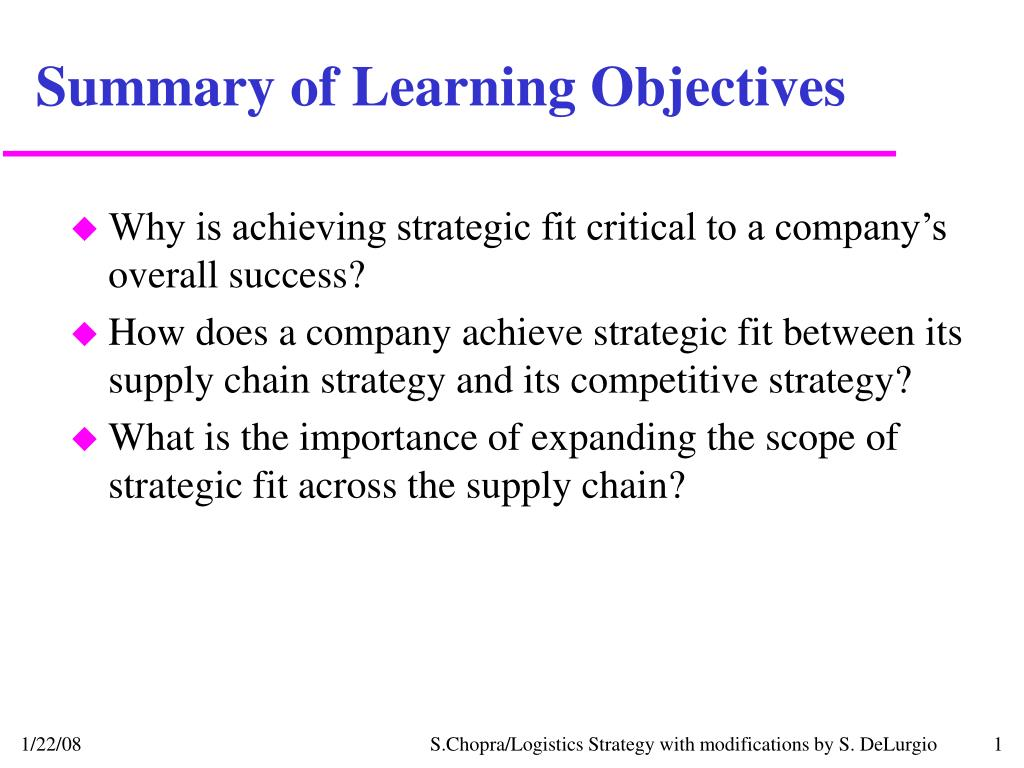 strategic objective summary