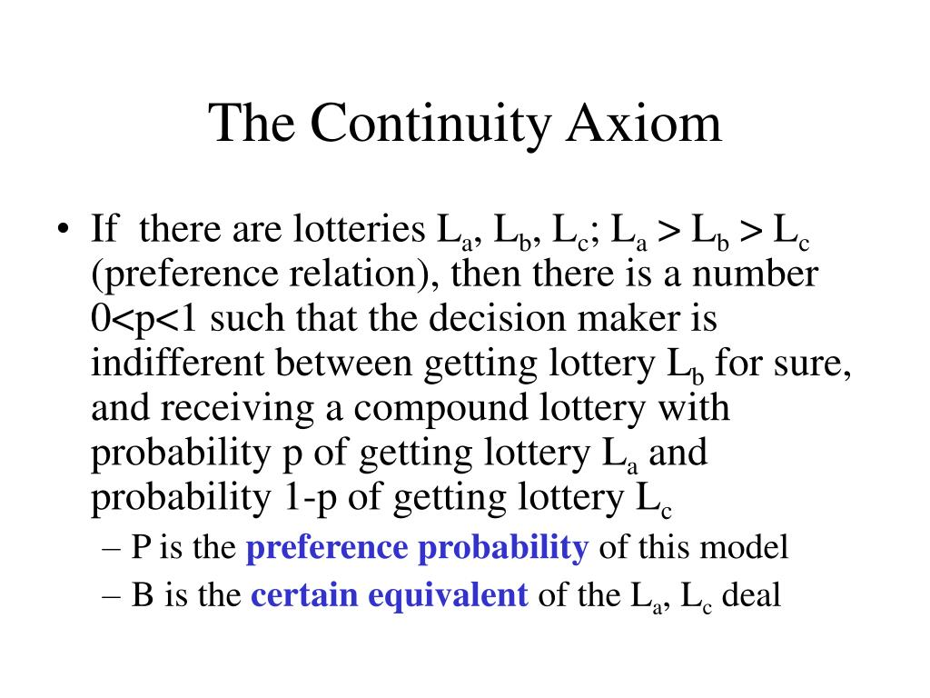 The Continuity Axiom