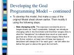 developing the goal programming model continued