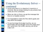 using the evolutionary solver continued