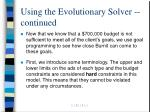 using the evolutionary solver continued13