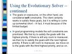 using the evolutionary solver continued14