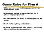 game rules for firm a4