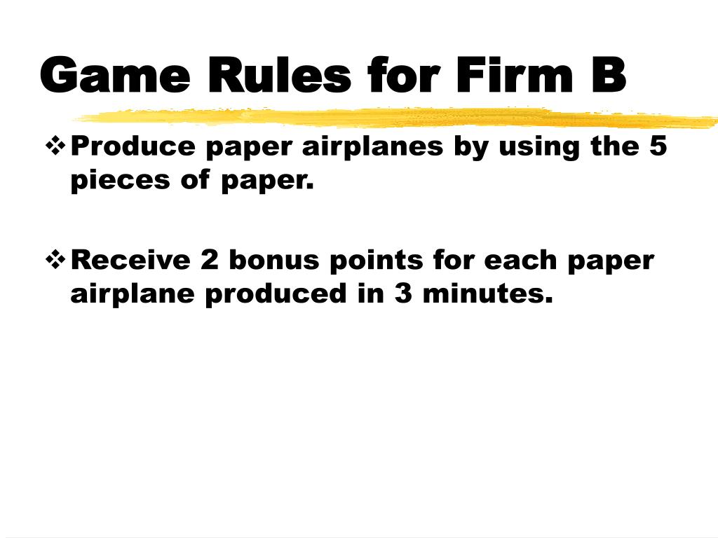 Game Rules for Firm B