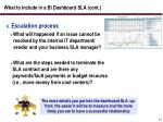 what to include in a bi dashboard sla cont