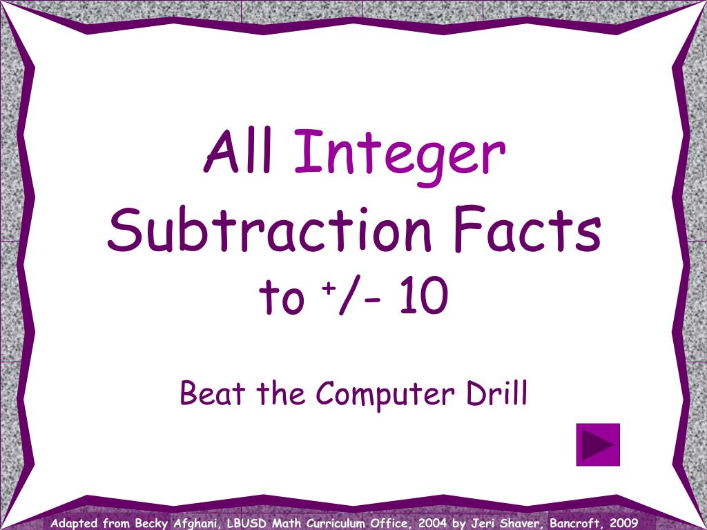 all integer subtraction facts to 10 l.