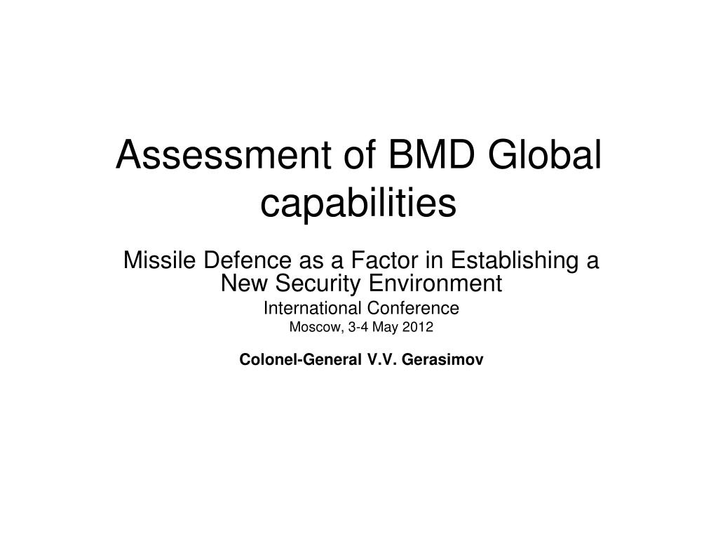 assessment of bmd global capabilities l.