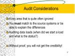 audit considerations