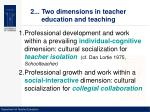 2 two dimensions in teacher education and teaching