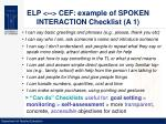 elp cef example of spoken interaction checklist a 1