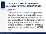 elp cefr an example of descriptor spoken interaction