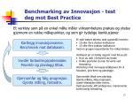 benchmarking av innovasjon test deg mot best practice