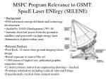 msfc program relevance to gsmt space laser energy selene