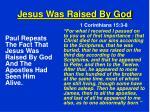 jesus was raised by god