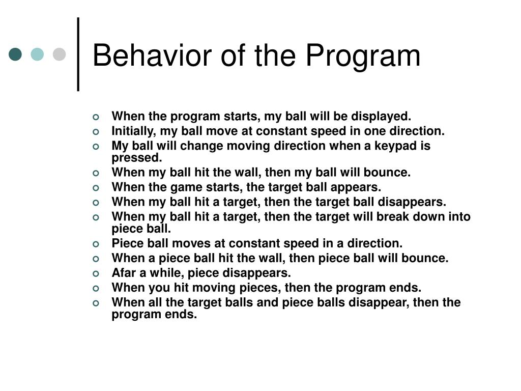 Behavior of the Program