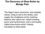 the discovery of shea butter by mungo park7