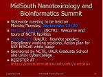 midsouth nanotoxicology and bioinformatics summit
