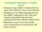 examples of rapid gains in health sector