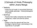 3 schools of hindu philosophy within jnana marga