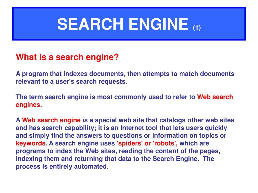 search engine 1 l.