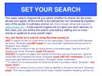 set your search