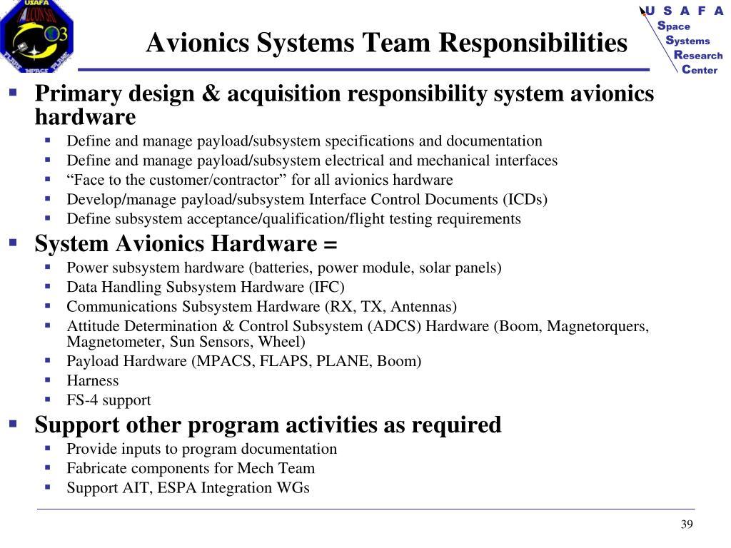 Avionics Systems Team Responsibilities