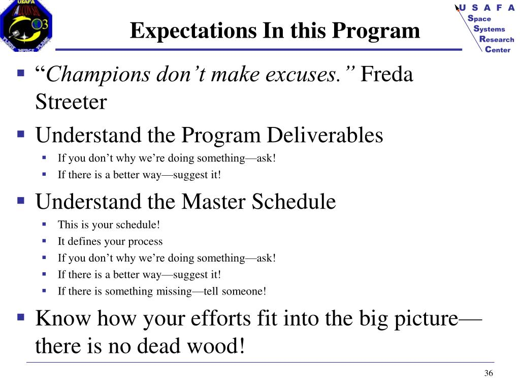 Expectations In this Program