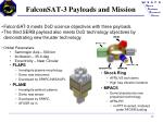 falconsat 3 payloads and mission