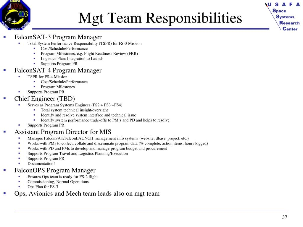 Mgt Team Responsibilities