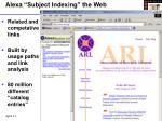 alexa subject indexing the web