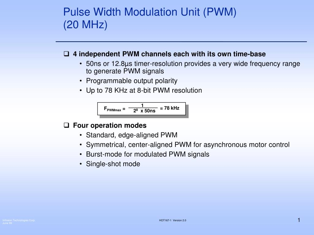pulse width modulation unit pwm 20 mhz l.