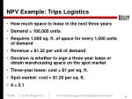 npv example trips logistics