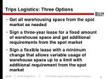 trips logistics three options