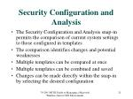 security configuration and analysis
