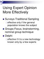 using expert opinion more effectively
