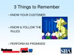 3 things to remember