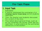 pre task phase