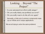 looking beyond the project
