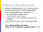 wigderson s algorithm revised