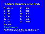 major elements in the body